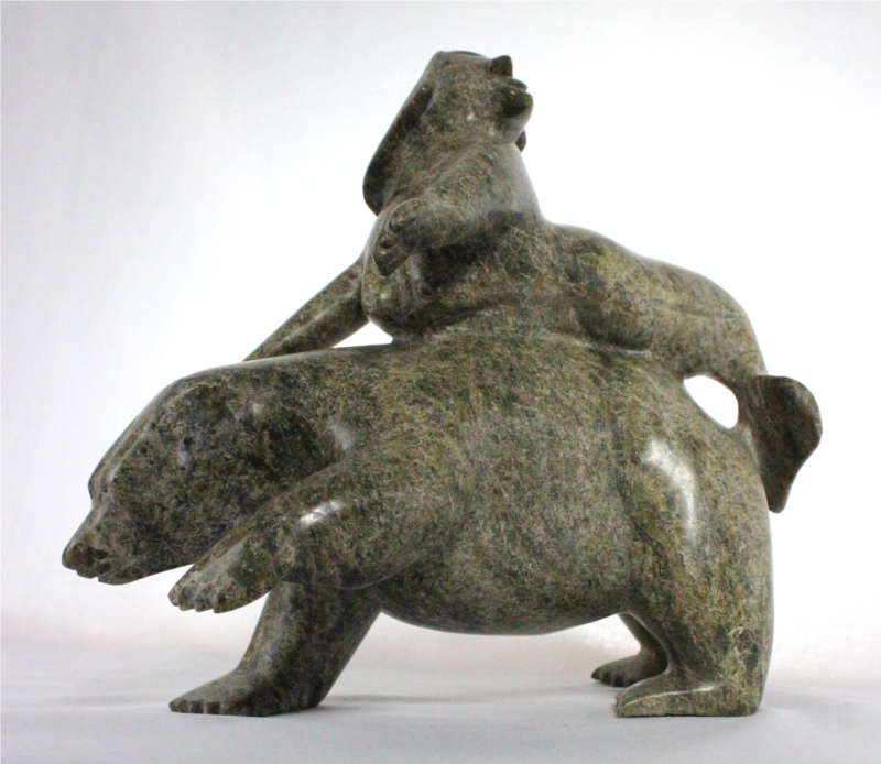 Inuit carving of Sedna and Bear by Kakee Nineosiak