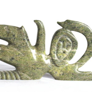 Inuit carving titled composition by Tukiki Manumie
