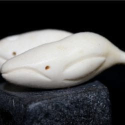 Inuit Carving of Two Whales by Mathew Shimout