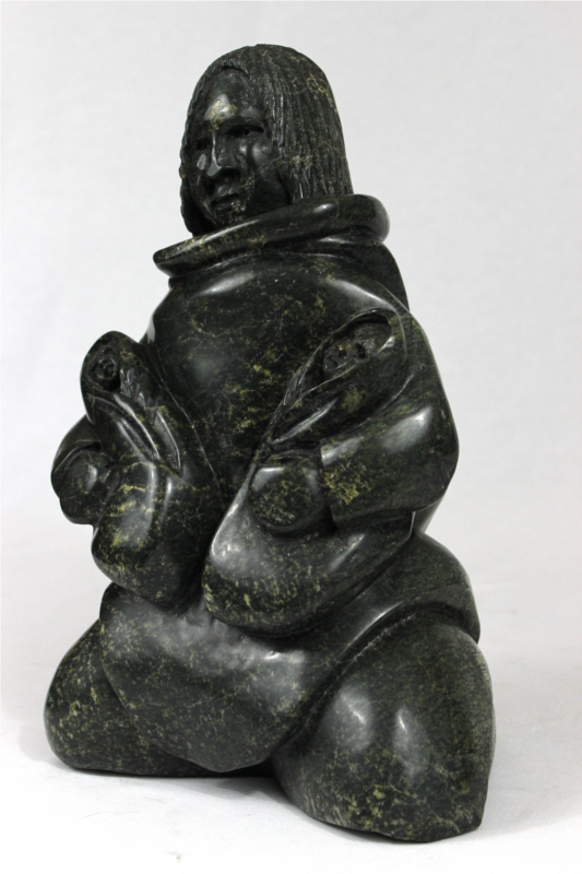 Inuit Carving of Mother With Twins by Napachee Ashoona