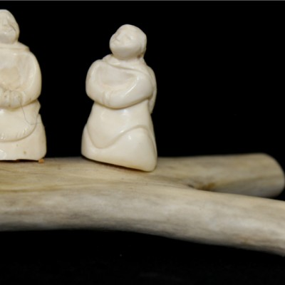 Inuit Carving of Two Women by Bruce Kringa