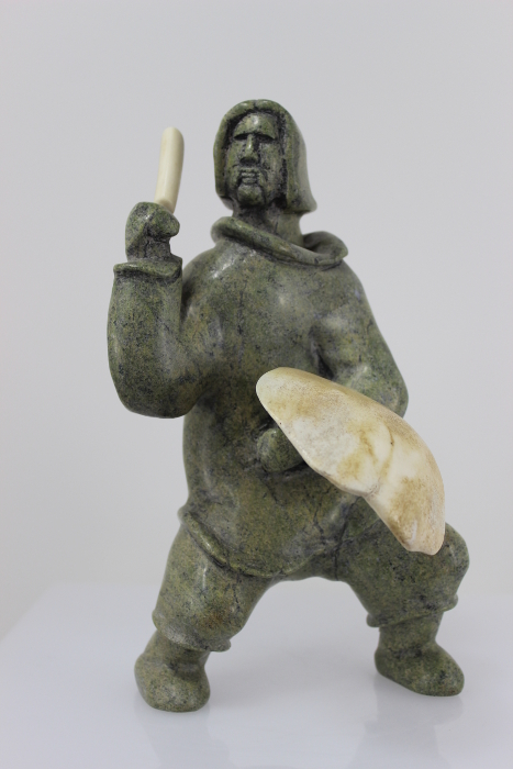 Beautiful Drummer carved by Inuit Artist Pootoogook Jaw