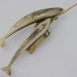 Wonderful Inuit art carving of narwhals made from antler