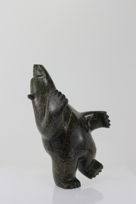 Gorgeous serpentine dancing bear by Abraham Simeonie, an Inuit artist from Cape Dorset