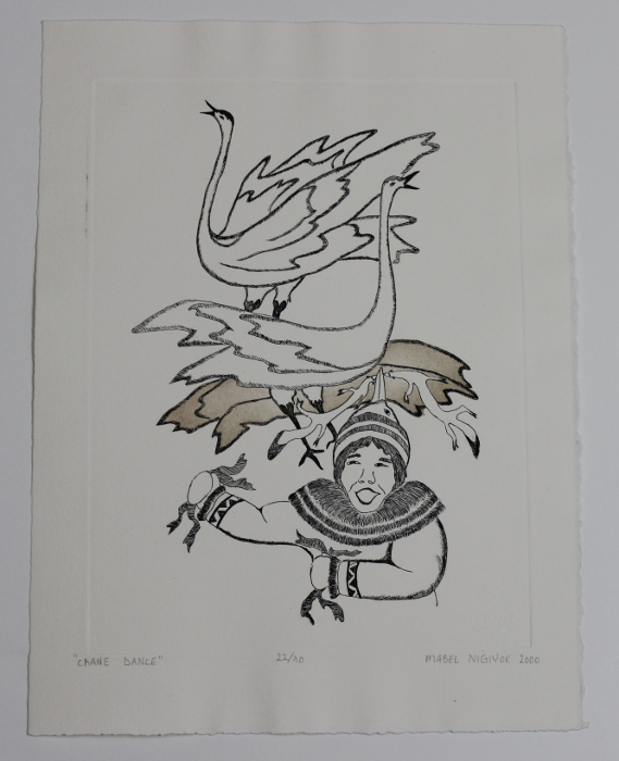 Crane Dance, a beautiful print by Inuit artist Mabel Nigiyok