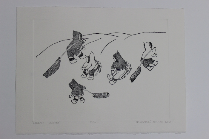 Children sliding, a wonderful print by David Omingmak, an Inuit artist from Holman