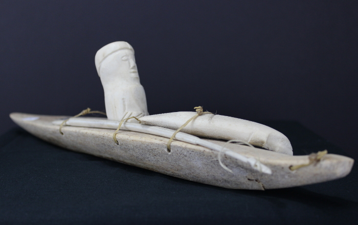 Hunter in kayak with his catch by Pedna Keyadkjuk, an Inuit artist from Pangnirtung