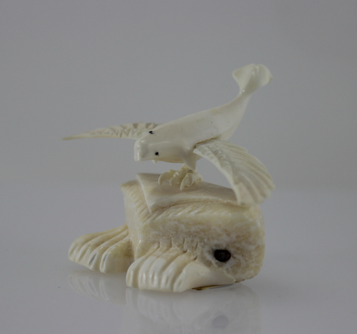 Beluga with wings is an interesting piece carved by Inuit artist Tony Atsanik, an artist from Qikiqtarjuaq