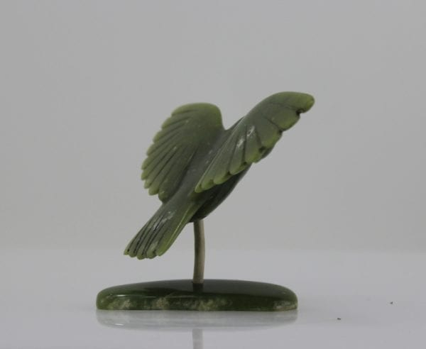 Beautiful green eagle carved by Allasuaq Sharky, an Inuit artist from Cape Dorset.