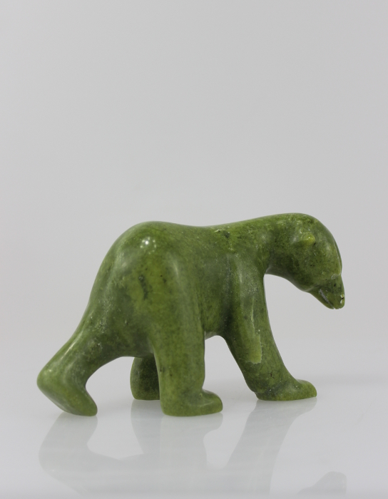 Gorgeous green bear carved by Simeonie Killiktee, an artist from Kimmirut.