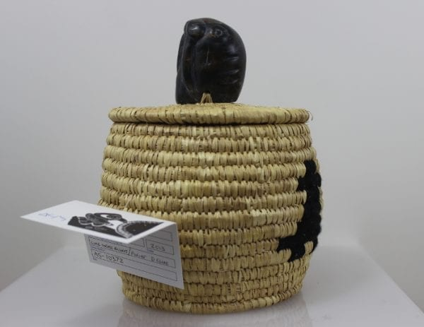 Beautiful basket woven by Lucy Weetaluktuk, an artist from Inukjuak.
