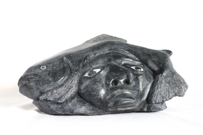 Inuit carving of Head with Fish and Seal by Davidee Nastapoka