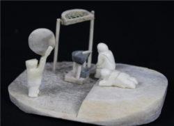 Inuit Carving of Inuk Drum Dancer by Alina Tungalik