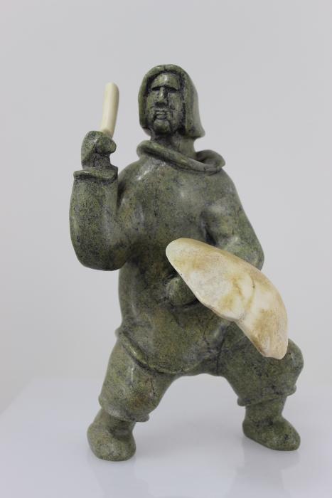Beautiful Drummer carved by Inuit Artist Pootoogook Jaw
