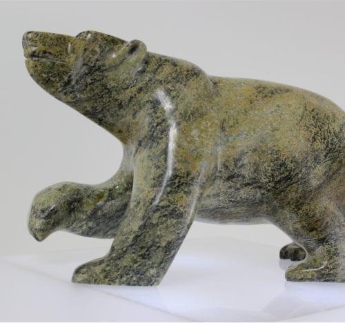Stunning Serpentine Bear Created by Inuit artist Qommuatuq Ashoona