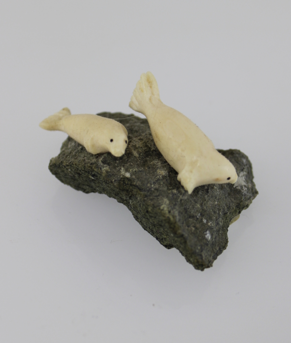 Ivory Seals carved by Inuit artist Maria K