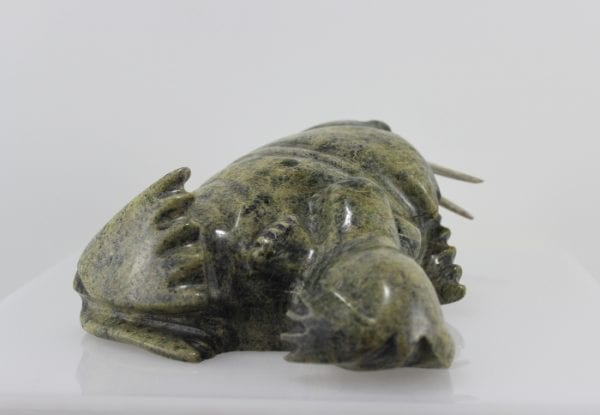 Gorgeous serpentine carving of a walrus with a calf by Peter Parr, an Inuit artist from Cape Dorset