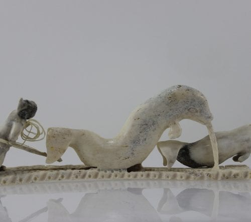 Phenomenal carving of a Hunter and Narwhal by Lukie Airut, a renowned Inuit artist from Igloolik