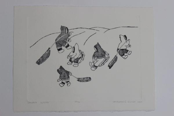 Children sliding, a wonderful print by David Omingmak, an Inuit artist from Holman