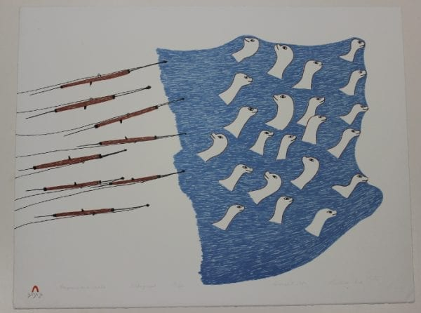 Harpoons and Seals by Pudlo Pudlat, renowned Inuit artist from Cape Dorset