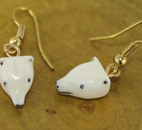 Cute polar bear earrings by Gilbert Inukpuk, an Inuit artist from Umiujaq