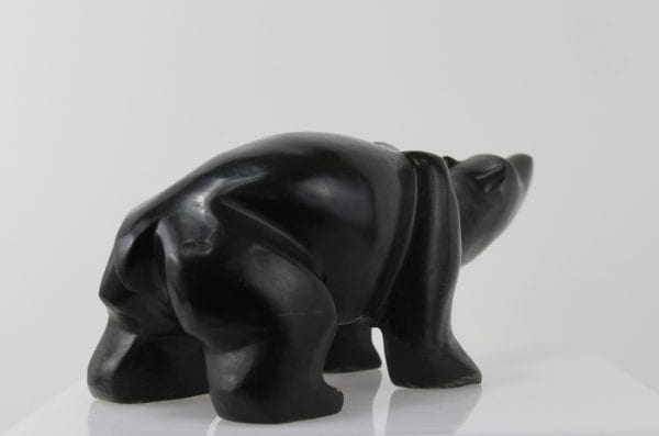Wonderful, stylized carving of a bear by an unknown artist from Hopedale, Labrador.