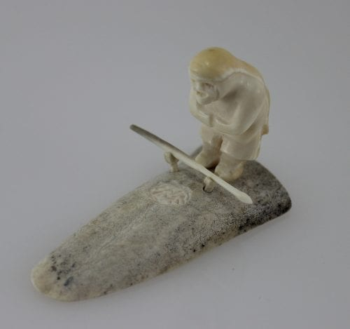 Gorgeous bone and Ivory hunter carved by Maria Kukkurak, an Inuit artist from Kugaaruk.