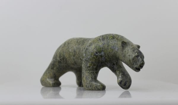 Gorgeous serpentine walking bear by Inuit artist Aggiak Petaloosie