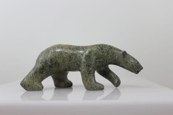 Gorgeous serpentine walking bear by Inuit artist Aggiak Petaloosie