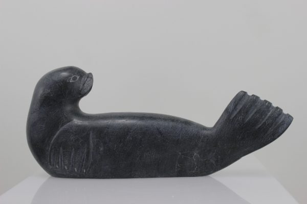 Seal by Nowra Echalook from Inukjuak in grey stone