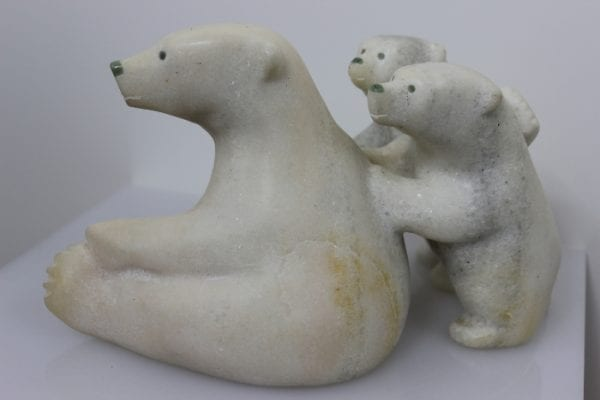 Bear with Cubs in marble by Ottokie Aningmiuq from Kinngait - Cape Dorset