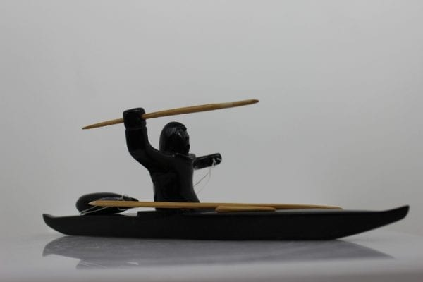 Hunter on Kayak by Noah Jaw from Kinngait - Cape Dorset