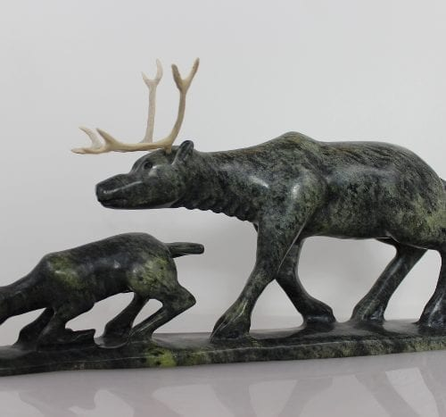 Caribou with Calf by Pootoogook Jaw from Kinngait - Cape Dorset