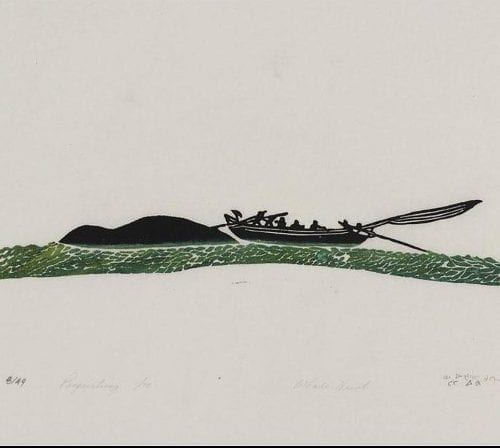 Print of Whale Hunt by Nicodemus Nowyook from Pangnirtung