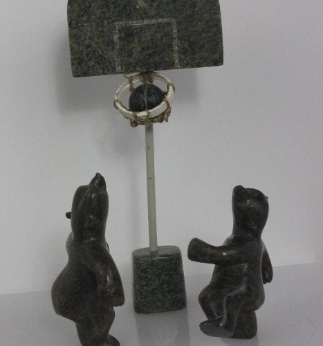 Bears Shooting Hoops by Ricky Jaw from Kinngait - Cape Dorset
