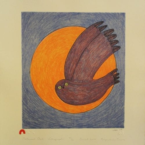 Print Nocturnal Owl by Ningiukulu Teevee from Cape Dorset - Kinngait