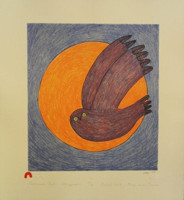 Print Nocturnal Owl by Ningiukulu Teevee from Cape Dorset - Kinngait