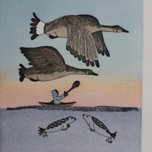 Print of Kayaker by Susie Malgogkak from Holman - Ulukhaktok