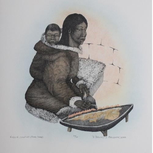Kudlik (seal oil stone lamp) Print by Peter Palvik from Holman