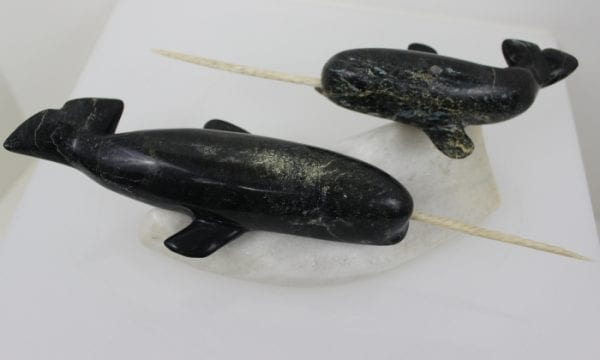 Narwhals by Pitseolak Qimirpik from Kinngait/Cape Dorset