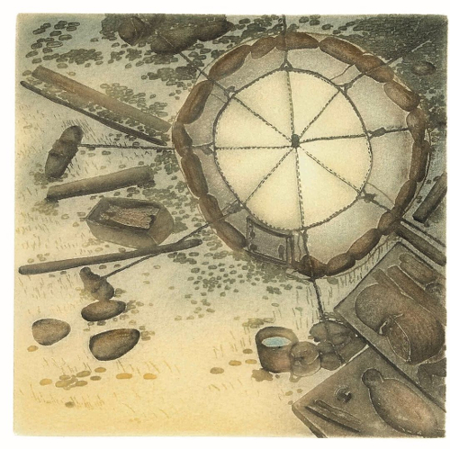 Print: Camp Site by Shuvinai Ashoona from Kinngait/Cape Dorset