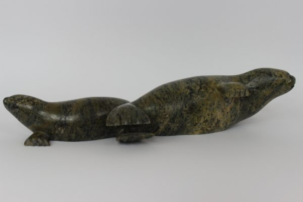 Seal with Pup by Ejetsiak Pitsiulak from Cape Dorset/Kinngait