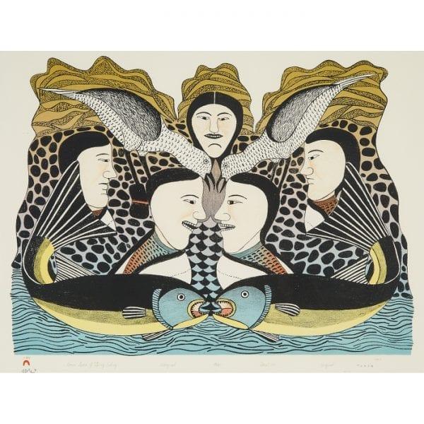 Women Speak of Spring Fishing by Kenojuak Ashevak from Cape Dorset/Kinngait