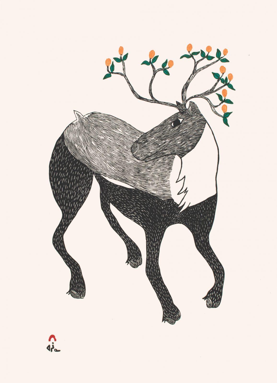 NINGIUKULU TEEVEE Caribou in Bloom Cape Dorset Print 2021