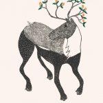Caribou in Bloom by Ningiukulu Teevee 21-16 2021 Dorset Print Collection